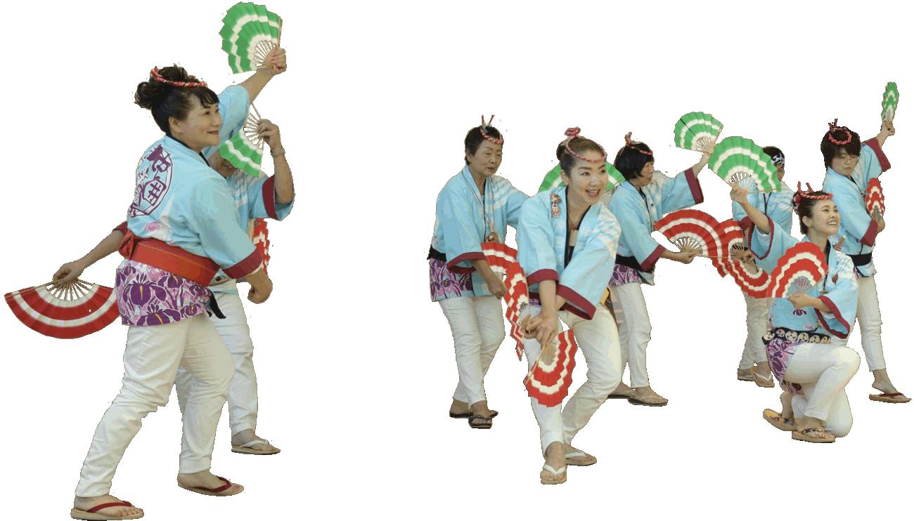 すずめ踊りの演舞